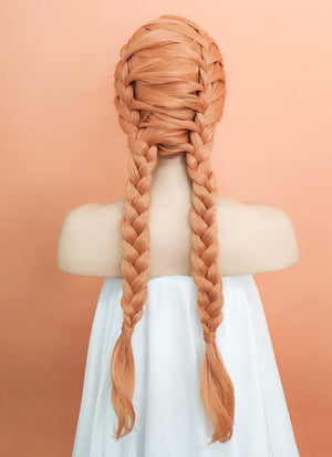 Pastel Peach Pink Wavy Lace Front Synthetic Wig LF2059