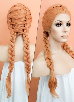 Pastel Peach Pink Braided Lace Front Synthetic Wig LF2059