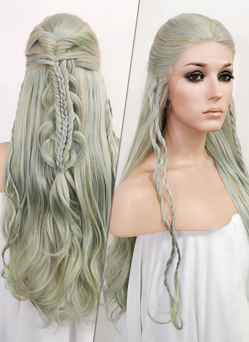 Pastel Green Braided Lace Front Synthetic Wig LF2062