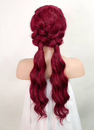 "Red Braided 13"" x 6"" Lace Top Synthetic Wig LF2064"