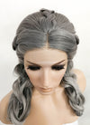 Two Tone Grey Braided Lace Front Synthetic Wig LF2065