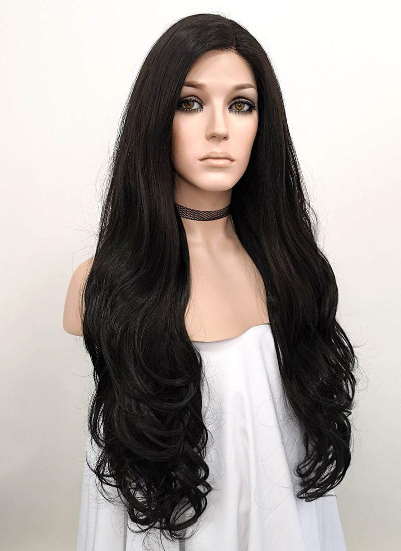 Wavy Natural Black Lace Front Synthetic Wig LF246