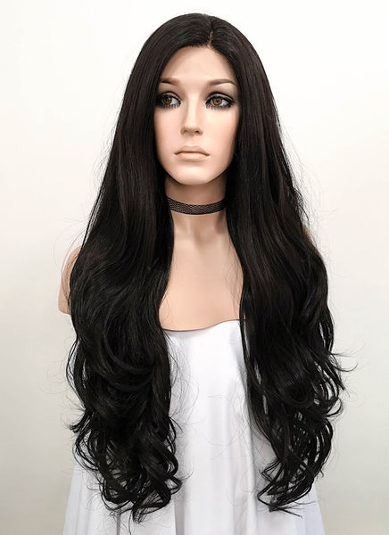 "26"" Long Curly Natural Black Lace Front Synthetic Hair Wig LF246"