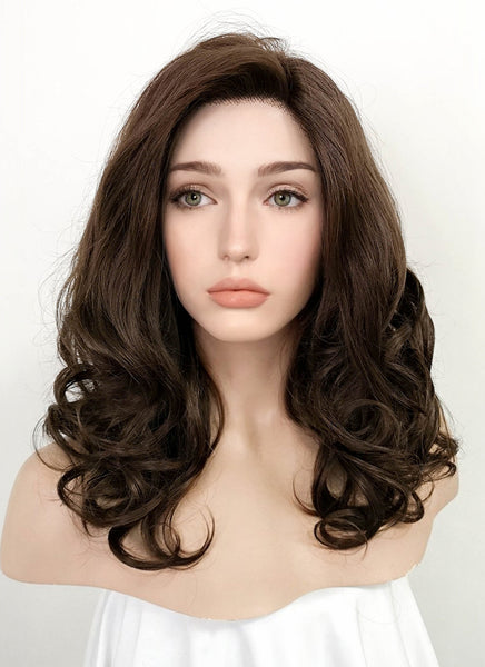 "16"" Medium Curly Brown Lace Front Synthetic Hair Wig LF256"