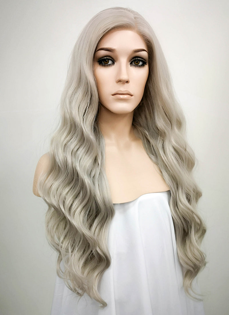 Wavy Mixed Grey Lace Front Synthetic Wig LF291