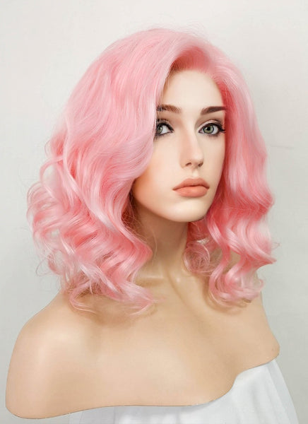 "11"" Short Curly Pink Lace Front Synthetic Hair Wig LF308"