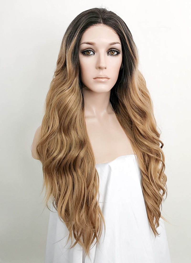Dark Flaxen With Dark Roots Wavy Lace Front Synthetic Wig LF3122