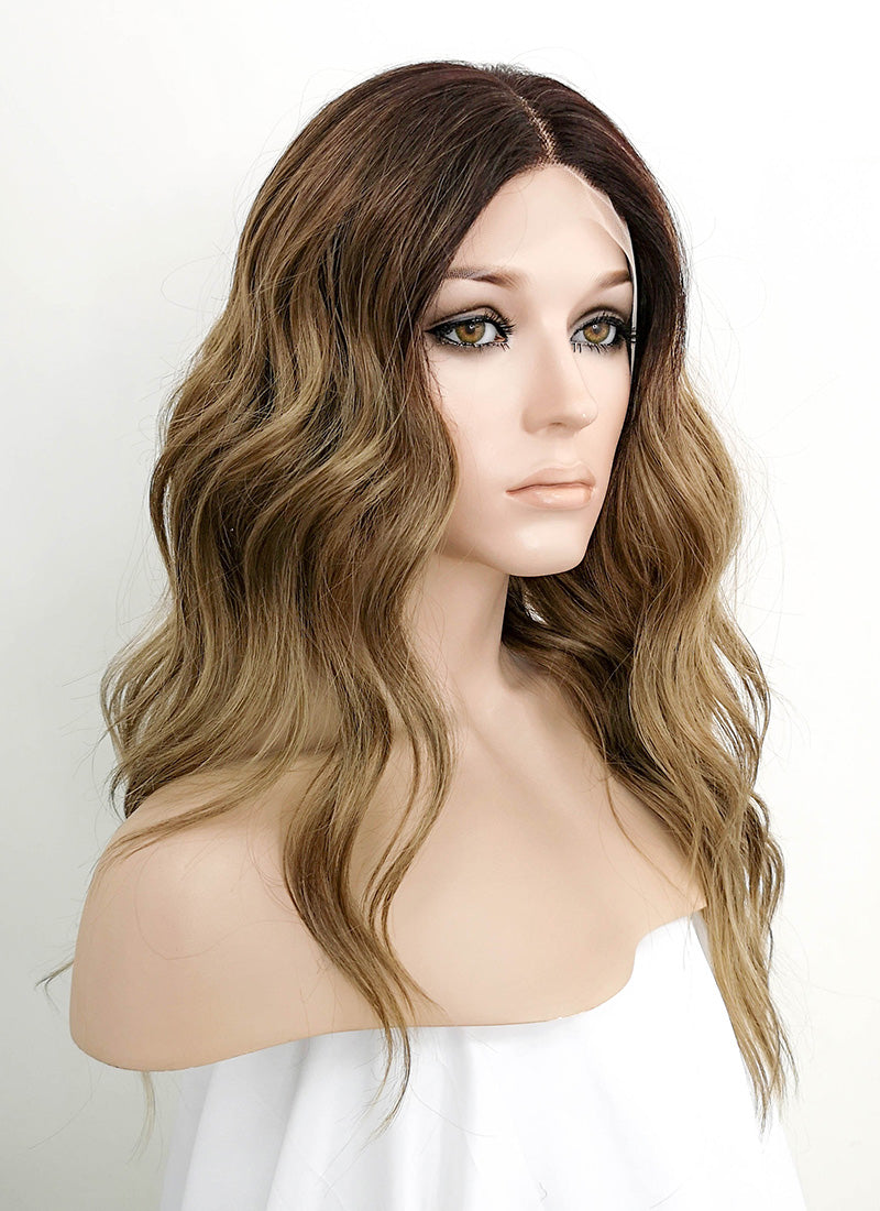 Mixed Blonde With Dark Roots Wavy Lace Front Synthetic Wig LF3127