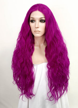 Magenta Wavy Lace Front Synthetic Wig LF3141