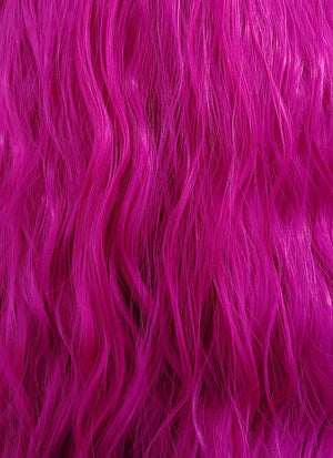 Magenta Wavy Lace Front Synthetic Wig LF3142