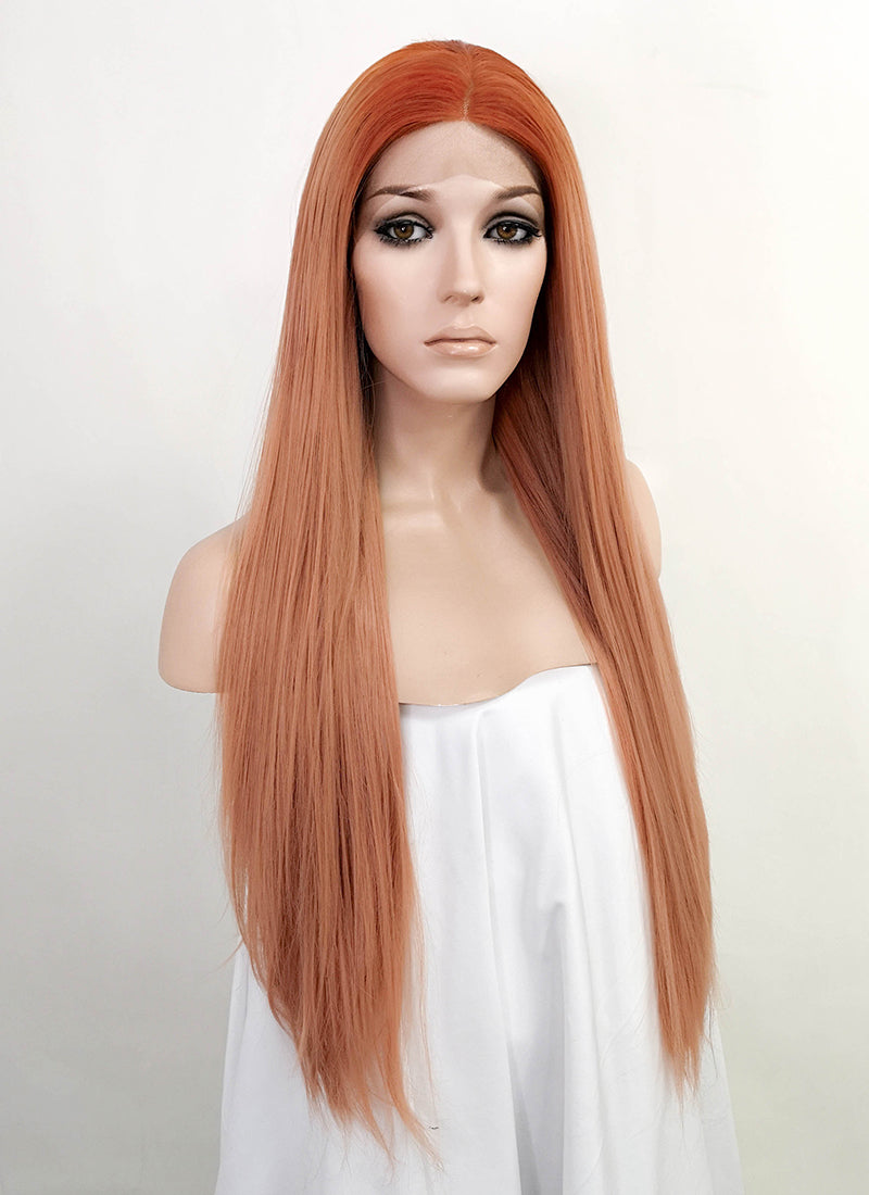 Pastel Peach Pink With Orange Roots Straight Lace Front Synthetic Wig LF3150
