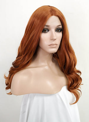 Light Auburn Wavy Lace Front Synthetic Wig LF3157
