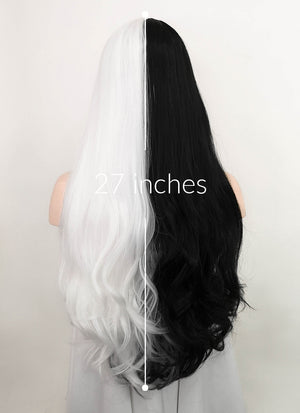 White Black Split Color Wavy Lace Front Synthetic Wig LF3164