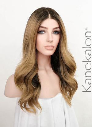 Ash Blonde With Dark Roots Wavy Lace Front Synthetic Wig LF3182