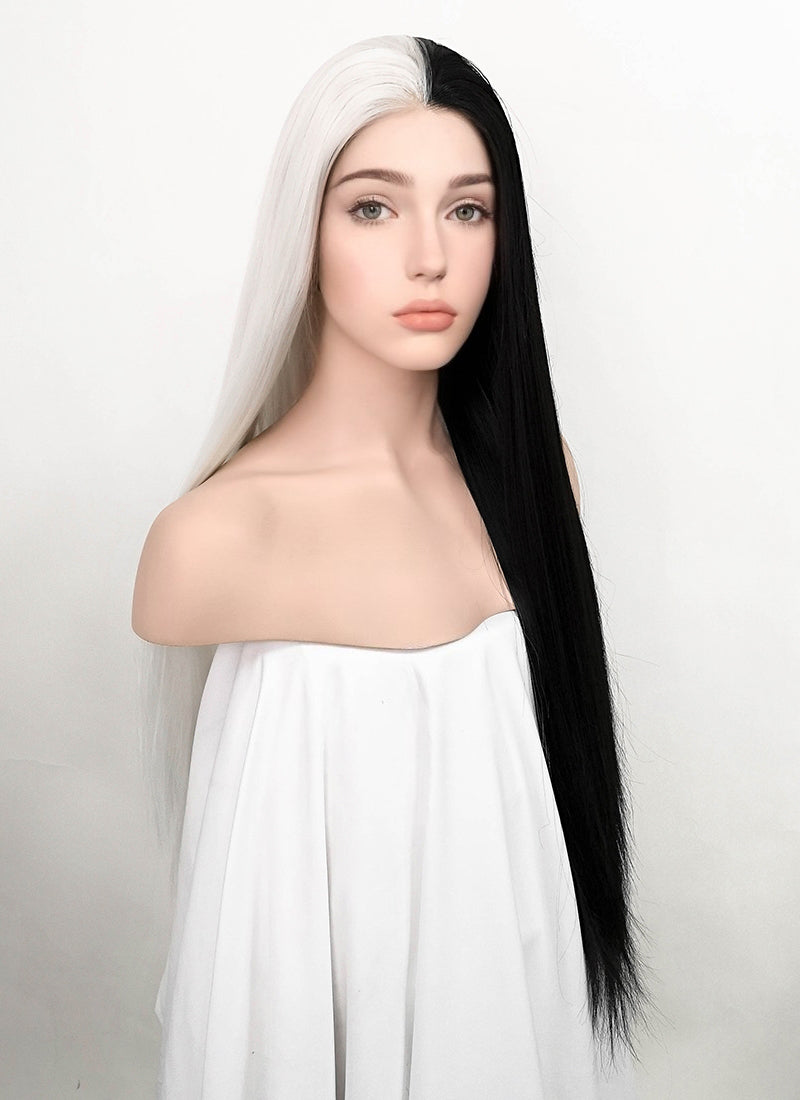 White Black Split Color Straight Lace Front Synthetic Wig LF3185