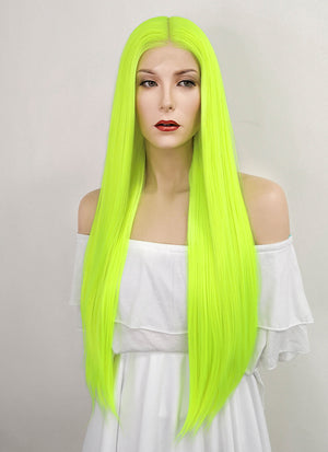 Neon Yellow Straight Lace Front Synthetic Wig LF3186