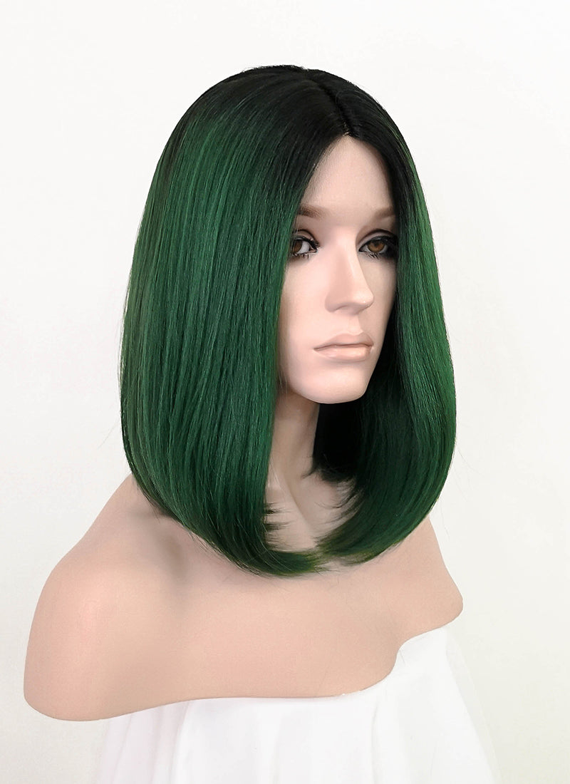 Green With Dark Roots Straight Bob Lace Front Synthetic Wig LF3190