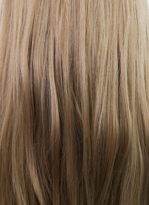 Ash Blonde With Dark Roots Straight Lace Front Synthetic Wig LF3195