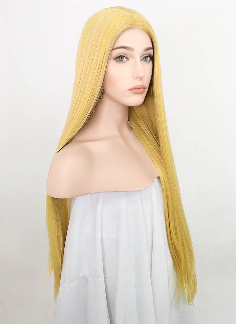 Light Yellow Straight Lace Front Synthetic Wig LF3203