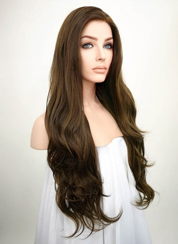 "24"" Long Straight Dark Brown with Purple Lace Front Synthetic Hair Wig LF200"