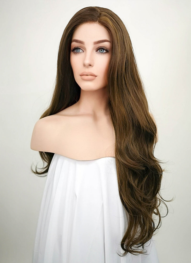 Brunette Wavy Lace Front Synthetic Wig LF3