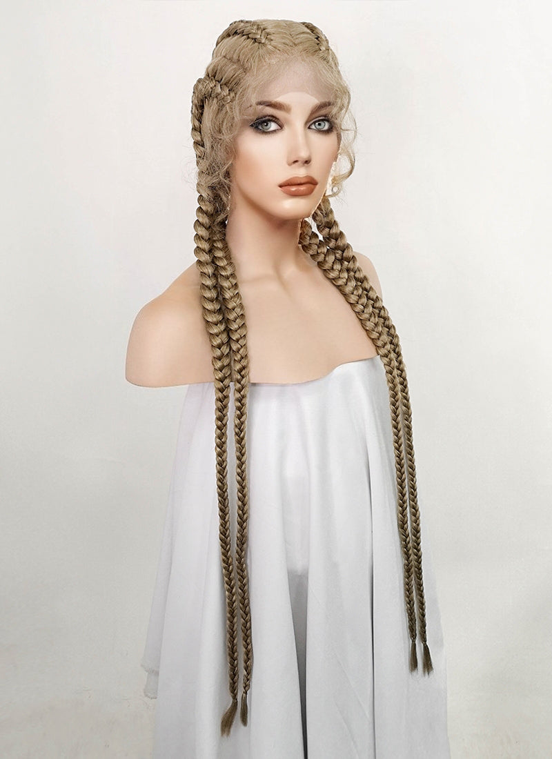 Ash Blonde Braided Lace Front Synthetic Wig LF3224