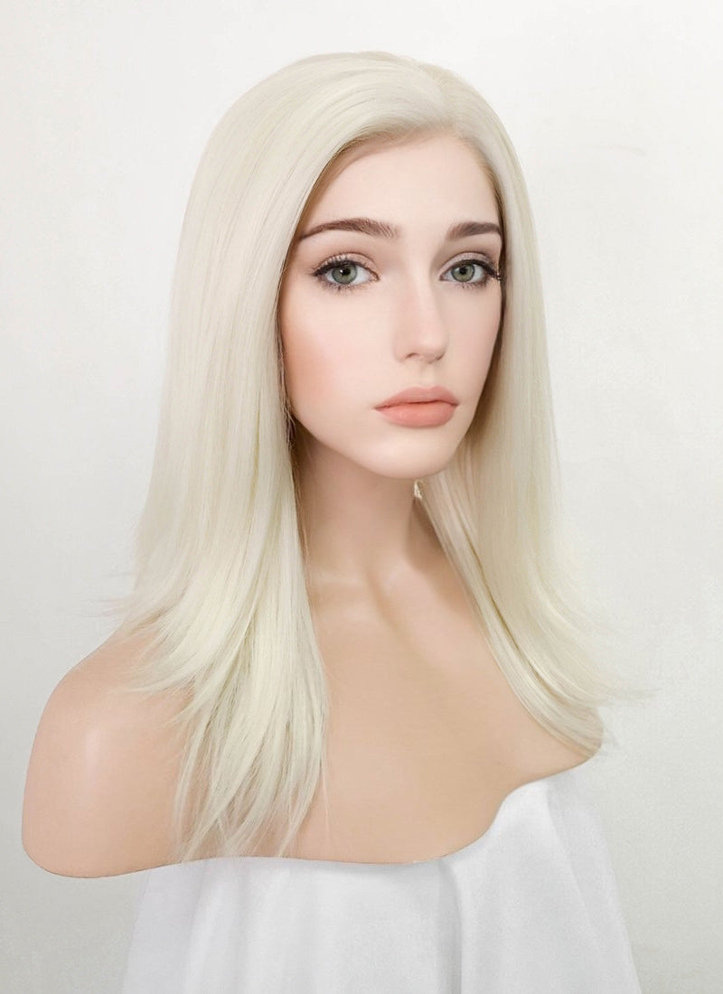 Platinum Blonde Straight Lace Front Synthetic Wig LF3226