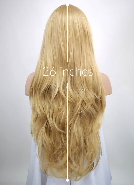 "26"" Long Curly Blonde Lace Front Synthetic Hair Wig LF323"
