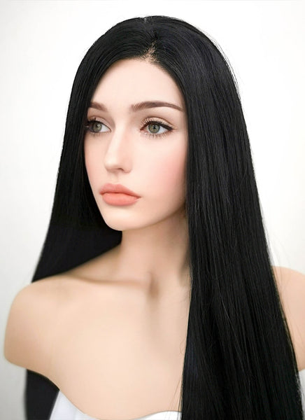 "30"" Long Straight Jet Black Lace Front Synthetic Hair Wig LF327"