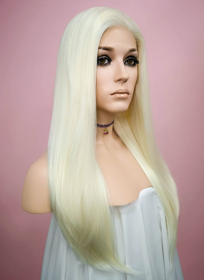 Straight White Platinum Blonde Lace Front Synthetic Wig