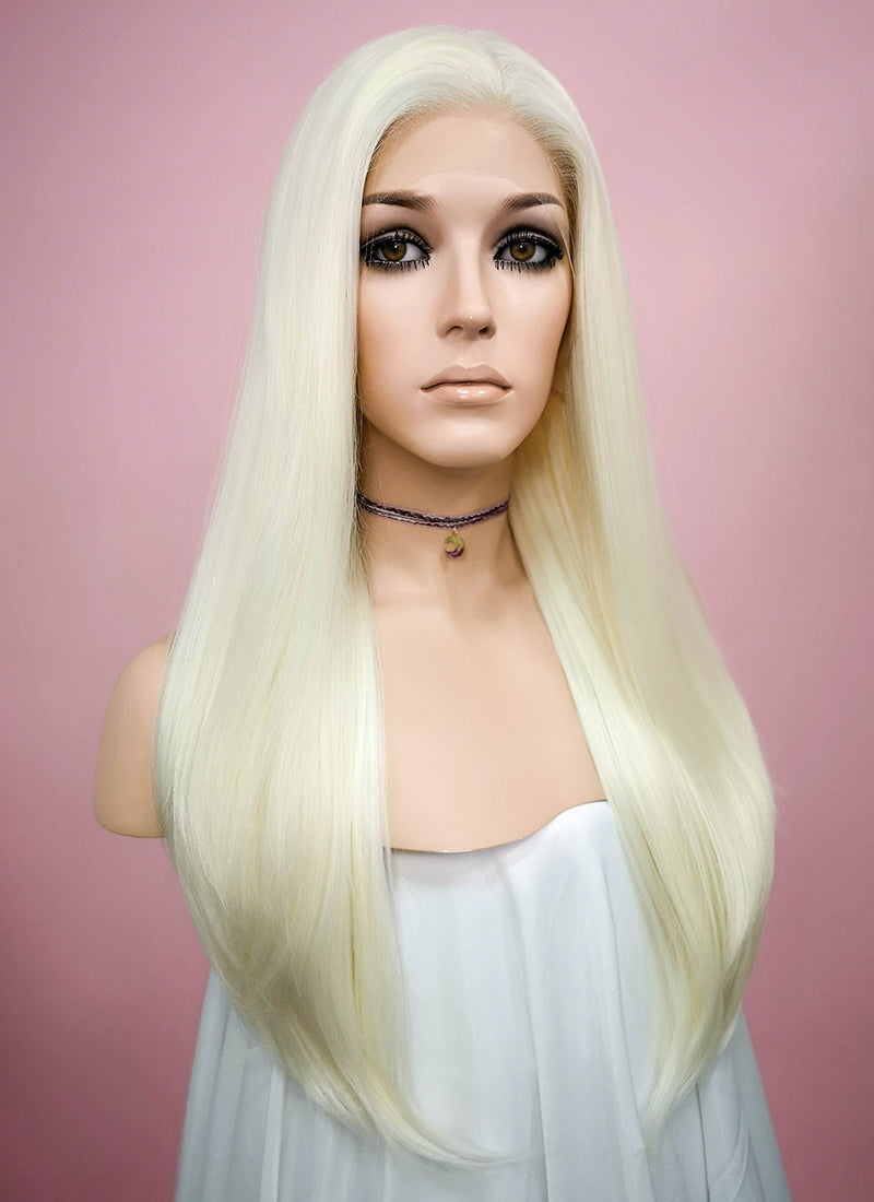 Straight White Platinum Blonde Lace Front Synthetic Wig LF330