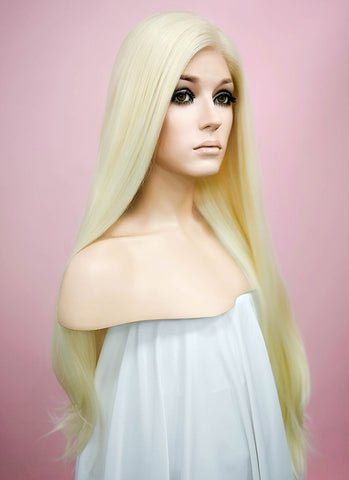 "24"" Wavy Light Green Pink Blonde With Dark Roots Lace Front Synthetic Wig LF5000"