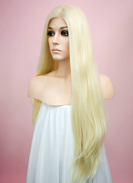"30"" Long Straight Blonde Mixed Red Lace Front Synthetic Wig"