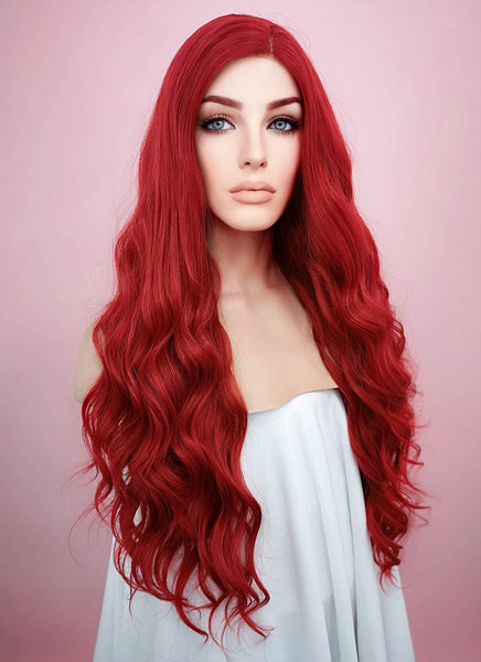 "24"" Long Wavy Red Lace Front Synthetic Wig"