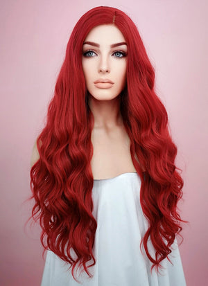 Wavy Red Lace Front Synthetic Wig LF355