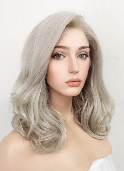 "16"" Medium Curly Blondish Grey Lace Front Synthetic Hair Wig LF369"