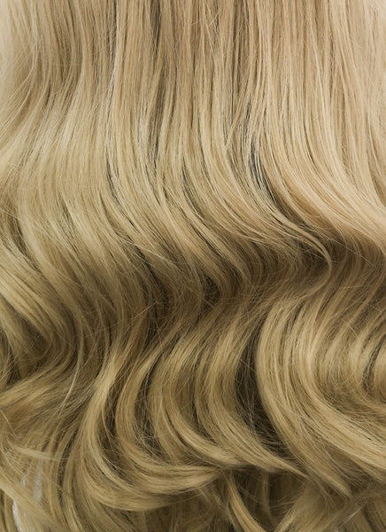 "24"" Long Curly Ash Blonde Lace Front Synthetic Fashion Wig LF373"