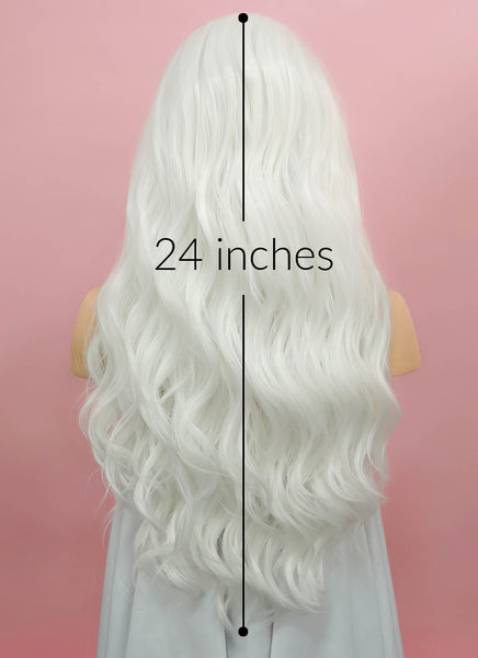"24"" Wavy White Lace Front Synthetic Wig LF388"