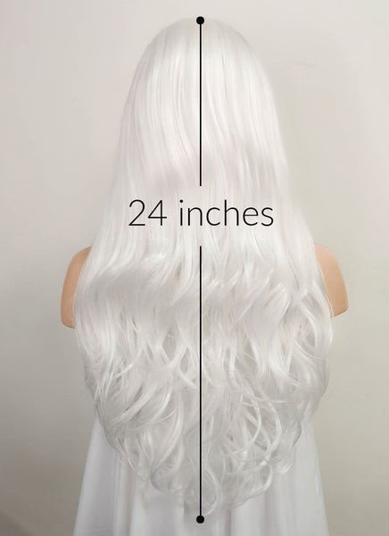 "24"" Long Curly White Lace Front Synthetic Hair Wig LF389"