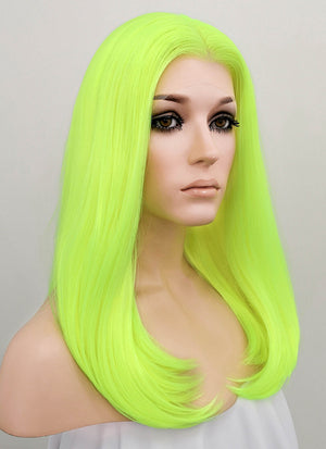 Neon Yellow Straight Lace Front Synthetic Wig LF475