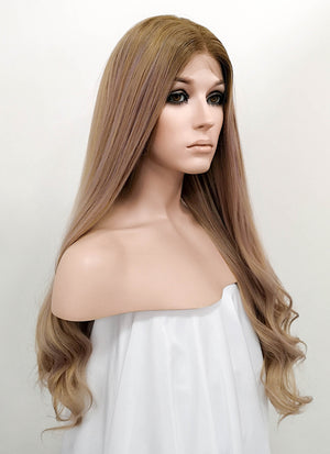 Mixed Blonde With Brown Roots Wavy Lace Front Synthetic Wig LF5007