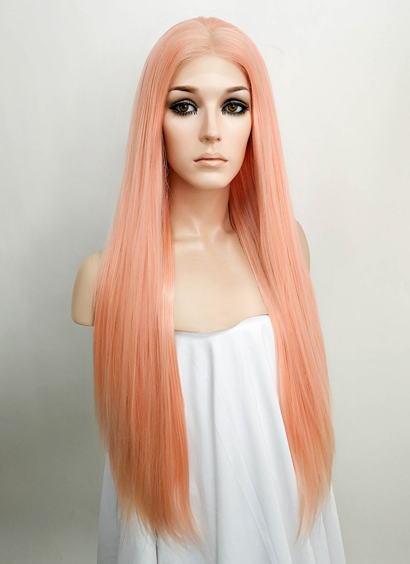Pastel Peach Pink Straight Lace Front Synthetic Wig LF5008