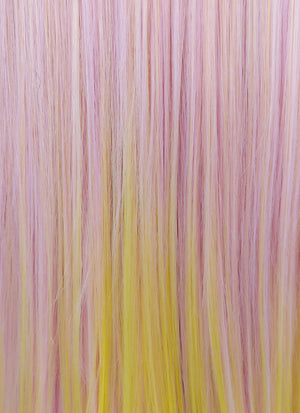 Pink Yellow Ombre With Dark Roots Straight Lace Front Synthetic Wig LF5014