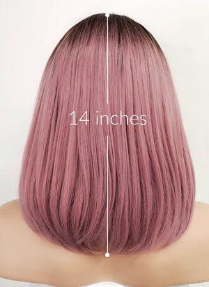 Pink With Dark Roots Straight Bob Lace Front Synthetic Wig LF5018