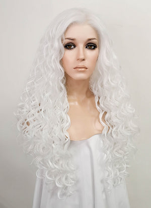 White Curly Lace Front Synthetic Wig LF5022