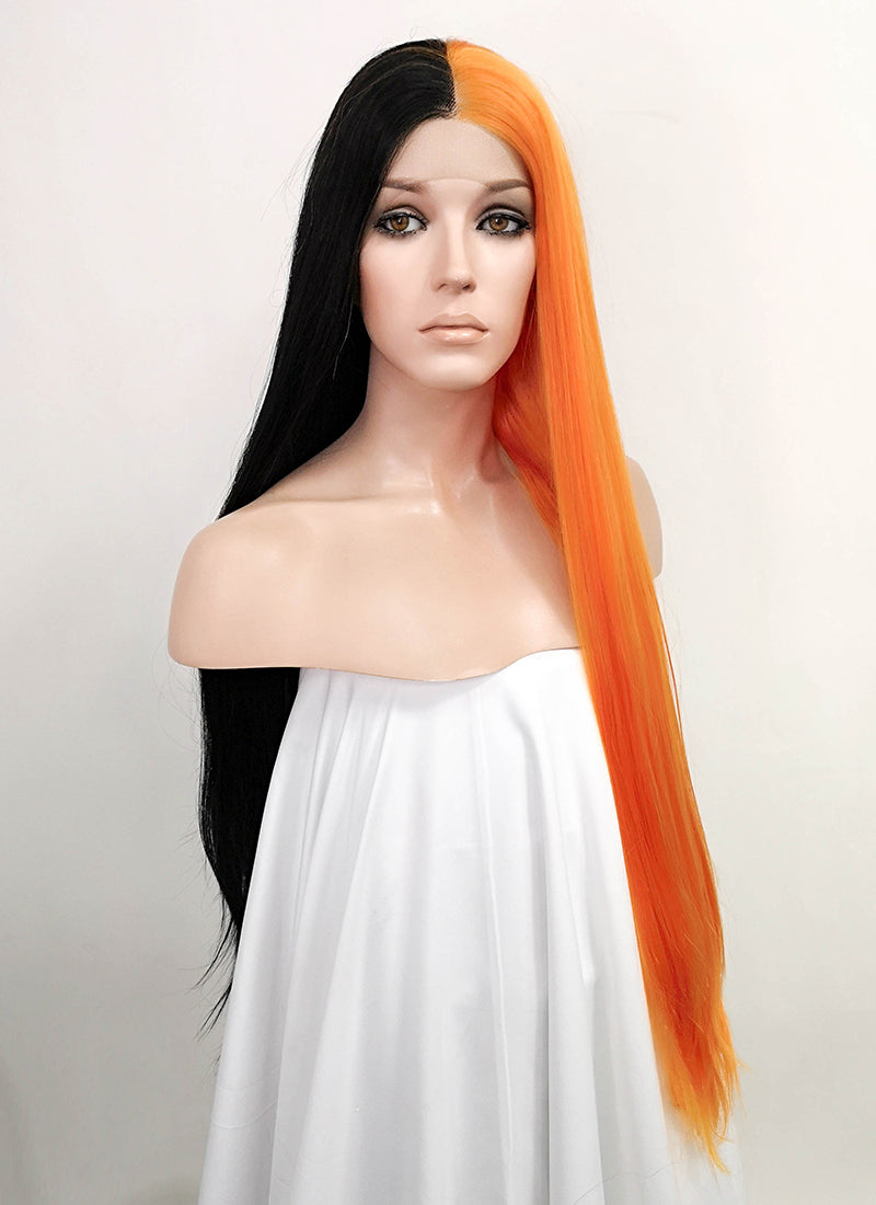 Black Orange Split Color Straight Lace Front Synthetic Wig LF5025