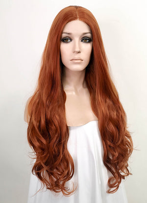 Auburn Wavy Lace Front Synthetic Wig LF5036