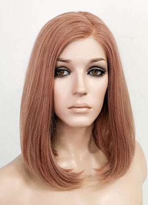 Ash Peach Pink Straight Bob Lace Front Synthetic Wig LF5045