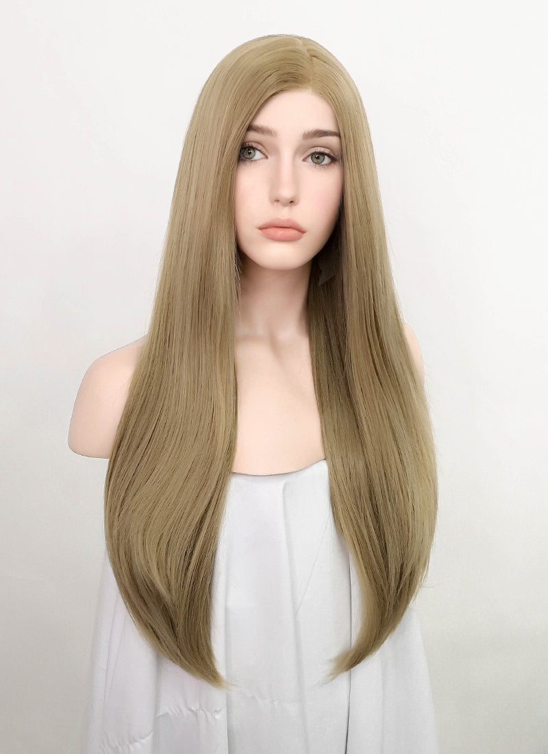 Ash Blonde Straight Lace Front Synthetic Wig LF5064