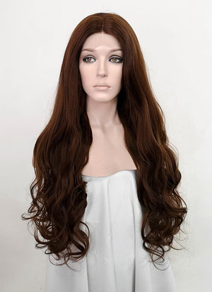 Chestnut Brown Wavy Lace Front Synthetic Wig LF5067